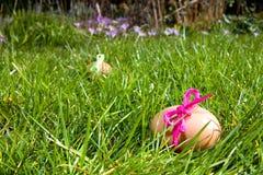 Påskägg i gräset Arkivfoto