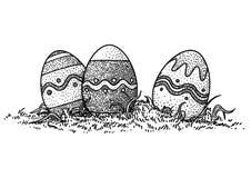Påskägg i gräsillustrationen, teckning, gravyr Stock Illustrationer