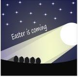 Påskägg i månskenet under stjärnorna stock illustrationer
