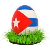 Påskägg med flaggan av Kuban i det gröna gräset, tolkning 3D royaltyfri illustrationer