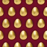 Påskägg med mönstrade guld- ägg stock illustrationer
