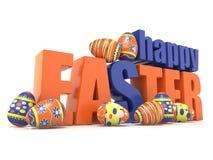 Påskägg och den lyckliga påsken för ord 3d stock illustrationer