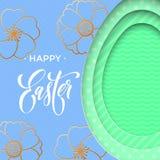 Påskägg på bakgrund för vårblommamodell Blom- papercutdesign för vektor för lycklig rengöringsduk b för påskhälsningkort, affisch Royaltyfri Foto