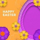 Påskägg på bakgrund för vårblommamodell Blom- papercutdesign för vektor för lyckligt påskhälsningkort Arkivfoton