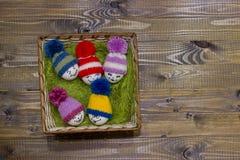 Påskägg på grön sisalhampa Emoticons i stucken hatt med pom-po Arkivbilder