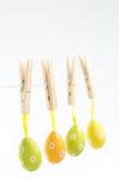 Påskägg som hänger från en fodra Royaltyfria Foton