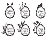 Påskägg ställde in med kanin, ägg, fåglar Lyckliga easter etiketter royaltyfri illustrationer