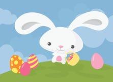 Påsk Bunny Basket arkivfoton