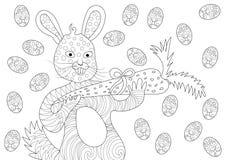Påsk Bunny Eating Carrot och lyckligt med ägg i modell för färgläggningbok royaltyfri illustrationer