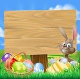 Påsk Bunny Egg Hunt Sign royaltyfri illustrationer