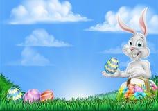 Påsk Bunny Rabbit Egg Hunt Background royaltyfri illustrationer