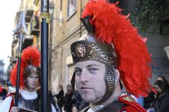 Påsk i Sicilien, heliga fredag - vår dam i procession - Centurione - Italien Royaltyfria Foton
