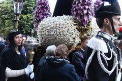 Påsk i Sicilien, heliga fredag - vår dam i procession - Italien Fotografering för Bildbyråer