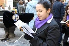 Påsk i Sicilien, heliga fredag - vår dam i procession - Italien Arkivfoto