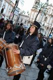 Påsk i Sicilien, heliga fredag - vår dam i procession - Italien Arkivfoton