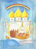 Påsk i tempelbatiken Arkivbild