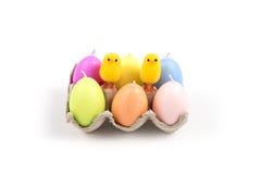 Påsk, liten fågelunge och ägg Arkivfoton