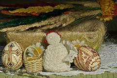 Påsk Symboler av jul Kanin, höna och ägg Pilen fattar Arkivbild