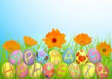 Påsk Vårgräs och orange blommor av calendulaen, påsk färgade ägg vektor illustrationer