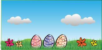 Påskbakgrund med ägg, blommor och moln stock illustrationer