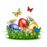 Påskbakgrund med ägg i gräs royaltyfri illustrationer