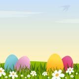 Påskbakgrund med blommor och ägg vektor illustrationer