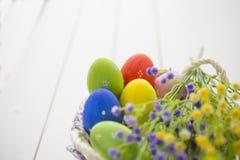 Påskbakgrund med easter ägg och vildblommor Fotografering för Bildbyråer
