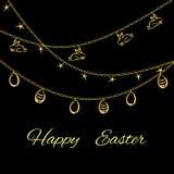 Påskbakgrund med guld- ägg på svart Royaltyfria Bilder