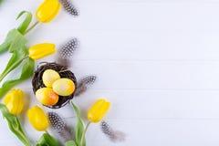 Påskbegrepp - dekorativt pilrede med dekorativa ägg, fjäder på vit bakgrund Copyspace för text arkivfoton