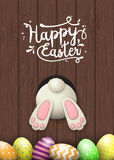 Påskbevekelsegrund, kaninbotten och easter ägg på brun träbakgrund, illustration vektor illustrationer