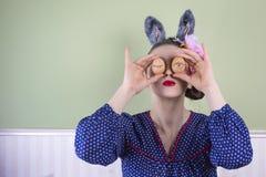 Påskdam med kaninöron Fotografering för Bildbyråer