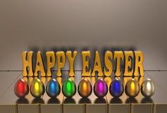 Påsken, mångfärgade ägg och hälsningtext på en grå bakgrund 3d framför Royaltyfri Foto