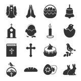 Påsken svarta enkla symboler för helgedom ställde in för rengöringsduk vektor illustrationer