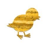 Påskfågelunge med gult tyg Royaltyfri Bild