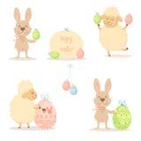 Påskfår och kanin Arkivbild