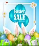 Påskförsäljningsaffisch med ägg och kaniner vektor royaltyfri illustrationer