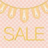 Påskförsäljningstext för annons, befordran, affisch, flygblad, blogg, artikel, socialt massmedia Smutsig rosa prickbakgrund för g Royaltyfri Foto