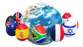 Påskferiebegrepp Ägg med flaggor som roterar runt om jorden, tolkning 3D stock illustrationer