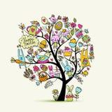 Påskferieträdet, skissar för din design stock illustrationer