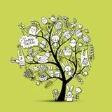 Påskferieträdet, skissar för din design royaltyfri illustrationer