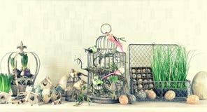 Påskgarnering med äggfåglar blommar tappningstil royaltyfri fotografi