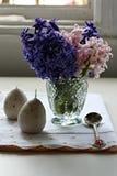 Påskgarnering med hyacinten Royaltyfri Fotografi