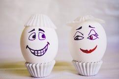 Påskgyckel med äggkonst royaltyfri bild