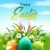 Påskhälsningkort med ägg, kaninöron och blomman vektor illustrationer