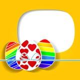 Påskhälsningkort med ägget. Vektorillustration. EPS 10 Fotografering för Bildbyråer