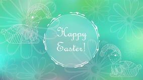 Påskhälsningkort med kaniner och blommor arkivfoton