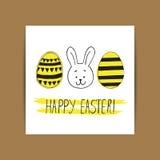 Påskhälsningkort med klotter för easter ägg och kanin Hand vektor illustrationer