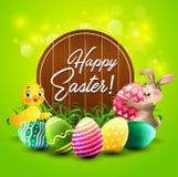 Påskhälsningkort med liten kanin, anden, färgrika ägg och ett trätecken vektor illustrationer