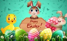 Påskhälsningkort med två lilla kaniner, anden, färgrika ägg och ett trätecken royaltyfri illustrationer