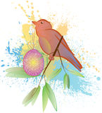 Fågel med ägget Arkivbild